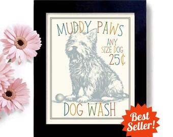 Laundry Room Decor Dog Art West Highland Terrier Art Westie Dog Wash Art Sign Wall Art Print Washing Machine Bathroom Art Norwich Terrier