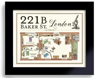 Sherlock Holmes Detective Art Print Bar Art 221B Baker Street Geekery London England Elementary Pub Decor