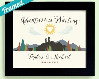 Outdoor Decor Wedding Gift Idea Adventure Awaits Hiking Gift For Newlyweds Nature Lovers Camping Couples Gift Framed Art Print Mountain Art