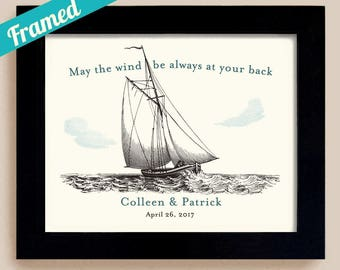 Sail Boat Wedding Gift Irish Blessing May the Wind be Always at Your Back For Couples Newlyweds Honeymoon Cruise Nautical Theme