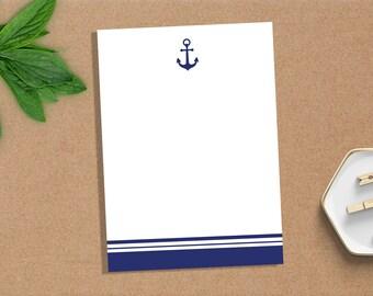 Notepad, Personalized Notepad, Anchor, Custom Notepad, Paper, Stationery, Custom Stationery, Monogram, Nautical, Gift, Notes, Pad, Sailor