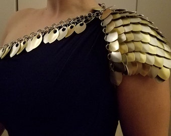 Scale Mail Gold/Champagne Shoulder Piece; Scale Shoulder Armor; Dragon Armor; Large Dragon Scales ; LARP ; Burning Man ; Cosplay