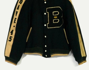 1930s Reversible Wool and Liquid Satin Football Varsity Letterman Jacket Green White Wool and Brown Liquid Satin Dave 45