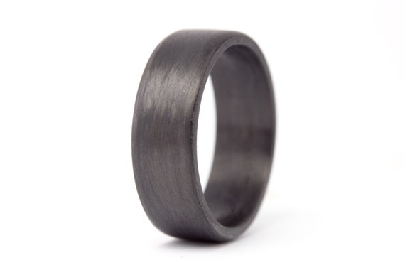 Men's carbon fiber flat ring. Unique black wedding band with matte finish. Water resistant, very durable and hypoallergenic. (00101_7N)