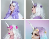 Interchangeable Silver Unicorn Crown - choose your flowers