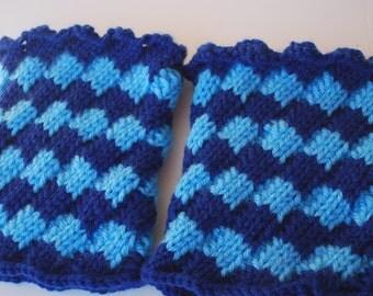 Crochet Blue Boot Cuffs