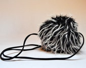 RESERVED Vintage Black and White Mini Fuzzy Shoulder Pouch Purse Fluffy Cross Body Bag