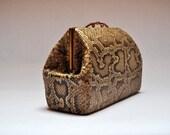 Vintage Genuine Snake Skin Clutch Bag Reptile Leather Handbag