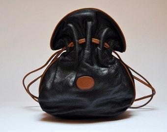 Vintage Drawstring Black and Tan Pebbled Leather Shoulder Bucket Bag