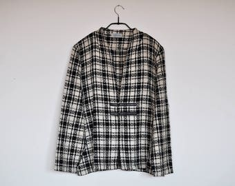 Vintage Black and White Plaid Tweed Blazer Jacket