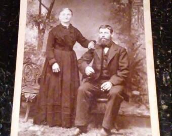 Antique Cabinet Card Photograph Older Couple 1800's