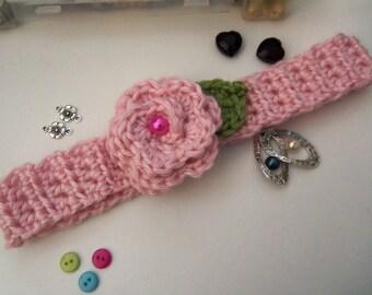 Pink Crochet Flower Headband. Handmade Crochet Headband. Girl's Flower  Headband. Teen's Headband.