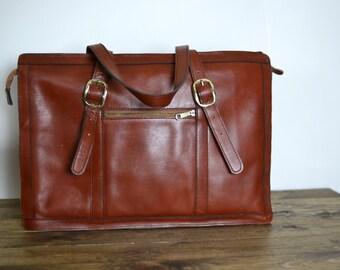 Vintage Leather Bag - Rust Leather Shoulder Laptop Work Tote