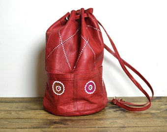 Vintage Handmade Red Leather Drawstring Bucket Bag Backpack Purse