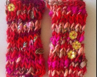 Boho Fingerless Gloves, Wristwarmers, Made from Handspun Organic Yarn
