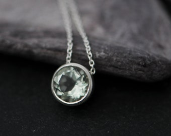 Green Amethyst Pendant Necklace - Green Gemstone Pendant - Pale Green Gemstone Necklace - Green Amethyst Silver Pendant - Small Gem Necklace