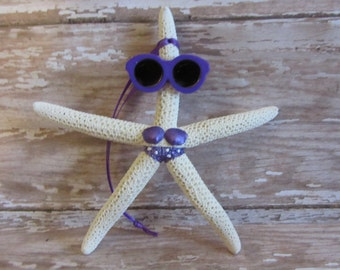 Beach Christmas Ornament - Beach Decor Starfish Christmas Ornament - REAL Starfish Purple Bikini Ornament - Nautical Ornament