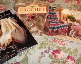 Vintage, Crochet Books, Three Books, Crochet, Knitting book,  Crochet Fan Pattern