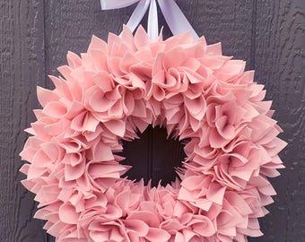 Pink Wreath - Spring Wreath - Summer Wreath - Baby Girl Wreath - Felt Wreath - Rag Wreath - Door Wreath - Large Wreath - Wedding Wreath