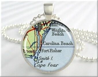 Carolina Beach Map Pendant, Resin Charm, Carolina Beach North Carolina, Map Necklace, Picture Jewelry, Round Silver, Gift Under 20 (743RS)
