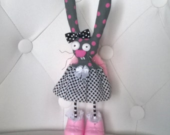 Bunny Rabbit Art Doll Gray and Pink Ooak Polymer Clay Collectable Cute Gift Easter