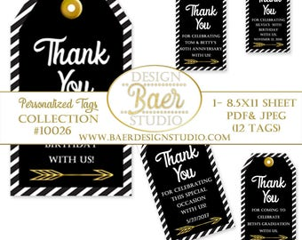 Black and Gold Tags:Printable Tags, Party Favor Tags, Personalized 50th Anniversary Tags, Graduation Tags, Birthday Tags, Thank You Tag