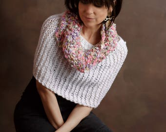 Hand Knit White Poncho Knit Hand White Sweater Knit Sweater XSmall/Small