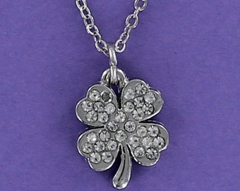 SHAMROCK Necklace - Pewter Charm with Clear Rhinestones on a FREE Plated Chain