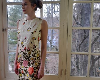 Rose Print Silk Sheath Dress/Vintage 1960s/Painted Silk Dress/Red Pink Yellow Roses/Size Extra Small