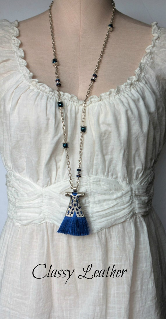 Long Tassel necklace,   Long layering tassel, Caftan necklace,  Boho necklace,  Bohemian necklace, turkish necklace