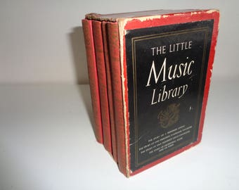 """Boxed Book Set of """"The Little Music Library"""" published in 1940, 1942 and 1943 with stories of Operas, Symphonies, Composers and Orchestras"""