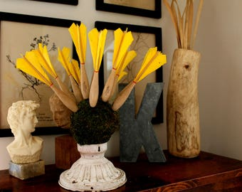 vintage wooden Apex darts with yellow feathers, lot of 12,  vase filler, game room decor, apex darts