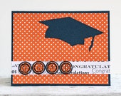 Blue and Orange Graduation Card, Graduation Congratulation, High School and College Graduation, Handmade Notecard, Navy Blue Graduation Cap