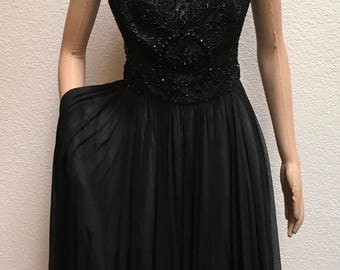 1950s 60s Dress Beaded LBD Fit and Flare Evening Frock Vintage Menger Smart Shops Bust 40 Inches