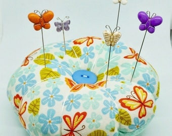 Large Butterfly Pincushion, Flower Pincushion, Needle and Pins Keeper, Pin Cushion with decorative Pins