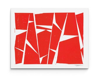 Linocut Print - Geometric Modern Forms - Linocut Block Print - Digital or Original Print