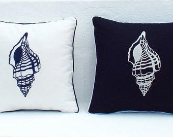Nautical Embroidered Throw Accent nautical Pillow Cover Beach Decor Coastal Seaside decor - Seashells