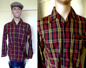Rare French Vintage NOS 1950's Mens Plaid Cotton Shirt in Black Red and Mustard Yellow Rockabilly Style - Size S-M