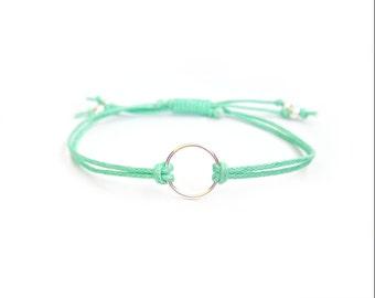 Sterling Silver Eternity Bracelet, Mint String Bracelet, Cord Friendship Bracelet, UK Seller