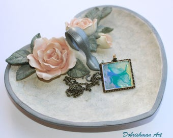 Terra Nova, Miniature Painted Necklace, Original Painting, Hand Crafted, Blue, Green, Twilight, Dobrishman Art, Bronze, Pendant, Chain