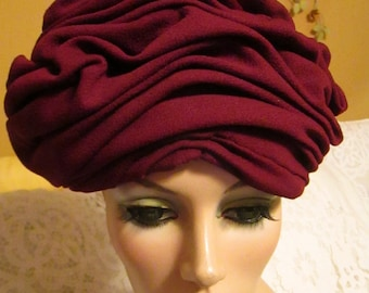 1950's or 70's Ladies Burgundy Curly TURBAN HAT by Lula Williamson