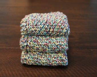 3 Hand Knitted Dish Cloths, Dish Rags, 100% Cotton , Blue, Purple, Green and White, Sugar'n Cream Yarn, Wash Cloth, Wash Rag, Cleaning