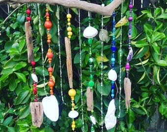 Rainbow DRIFTWOOD Wooden & Glass Beads Mobile, Windchime, Suncatcher - Jersey Shore, Upcycled Beach Decor, Sea Glass, Bohemian, Hippie