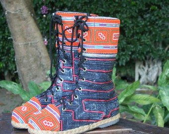 Combat Boots, Womens Vegan Boots In Hmong Embroidery Mid Calf Lace Up Boho Boots - Britta, FREE Shipping Worldwide
