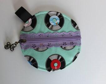Ear phone case, coin purse, vinyl record fabric, purse organizer, small zipper pouch, iPod storage accessory, ear bud protector case