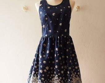 SALE - Navy Dress Vintage Sundress Floral Dress Summer Dress Gift for Her Graduation Dress Birthday dress