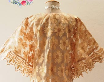 Clearance SALE SALE Autumn Poncho, Ponchos, Brown-Gold Lace Poncho, Tribal, Wrap, Aztec, Women Butterfly Blouse, Boho Poncho Bohemian Blouse