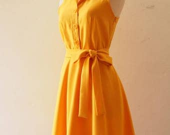 DOWNTOWN - Mustard Dress Yellow Shirt Dress Casual Dress Party Prom Modern Vintage Style La La Land Style Dress Mustard Bridesmaid Dress