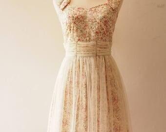 FAIRY ROMANCE - Cream White Tulle Dress A Line Party Dress Vintage Rustic Wedding Dress Vintage Floral Dress Floral Sundress Summer Dress