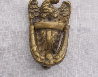 Vintage AMERICAN EAGLE Door Knocker Solid Brass Four Mounting Holes Home Decor Birds  about 1950s